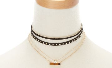 Go to Product: Gold Resin Tortoiseshell Bar Choker Necklaces - 3 Pack