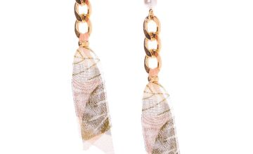 "Go to Product: Gold 3.5"" Chain & Ribbon Drop Earrings"
