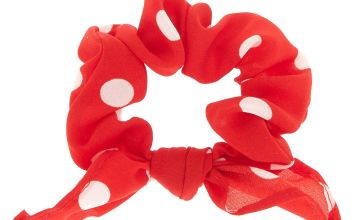 Go to Product: Small Polka Dot Knotted Bow Hair Scrunchie - Red