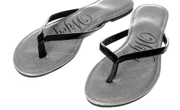 Go to Product: Wifey Silver Glitter and Black Faux Patent Leather Flip Flops