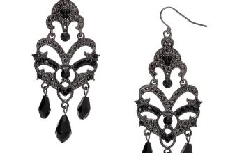 "Go to Product: Hematite 3"" Gothic Chandelier Drop Earrings"