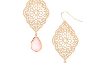 "Go to Product: Gold 2.5"" Filigree Stone Drop Earrings - Pink"
