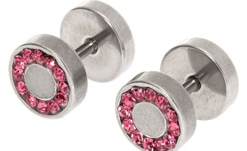 Go to Product: Silver 16G Halo Pink Crystal Faux Ear Plugs