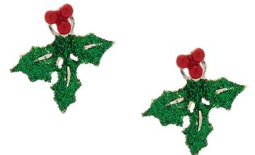Go to Product: Glitter Holly Leaf Ear Jackets - Green