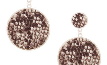 "Go to Product: 2.5"" Snakeskin Circle Drop Earrings"