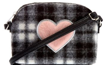 Go to Product: Fuzzy Flannel Heart Crossbody Bag - Black