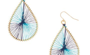 "Go to Product: Gold 2"" Teardrop Threaded Drop Earrings - Turquoise"