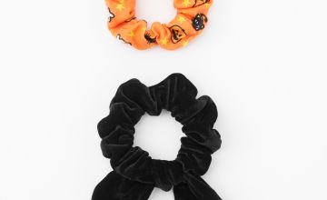 Go to Product: Small Spooky Icon & Black Velvet Knotted Bow Hair Scrunchies - 2 Pack
