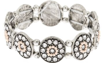 Go to Product: Silver Medallion Stretch Bracelet - Pink