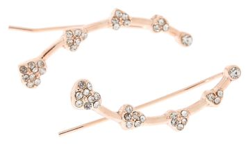 """Go to Product: Rose Gold 1"""" Crystal Heart Ear Crawler Earrings"""