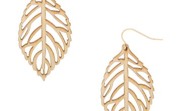 "Go to Product: Gold 2"" Wooden Leaf Drop Earrings - Cream"
