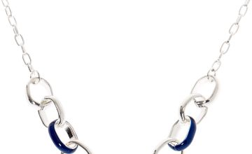 Go to Product: Silver Enamel Chain Link Statement Necklace - Navy