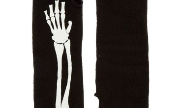 Go to Product: Glow In The Dark Skeleton Fingerless Gloves - Black