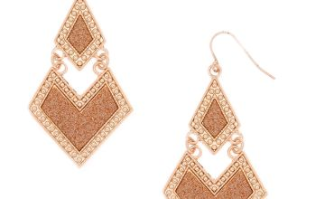 """Go to Product: Rose Gold 2"""" Glitter Geometric Drop Earrings"""
