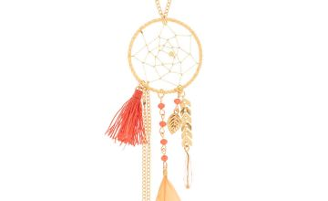 Go to Product: Gold Dreamcatcher Long Pendant Necklace - Coral