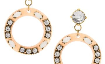 """Go to Product: 2"""" Blush Circle Drop Earrings"""