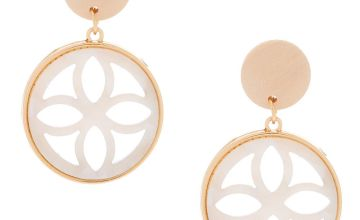 "Go to Product: Gold 1.5"" Wooden Tortoiseshell Drop Earrings - White"
