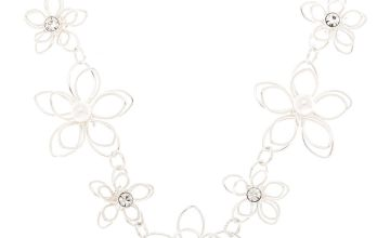 Go to Product: Silver Pearl Wire Flower Statement Necklace