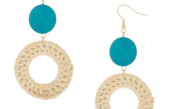 """Go to Product: Gold 3"""" Round Straw Drop Earrings - Turquoise"""