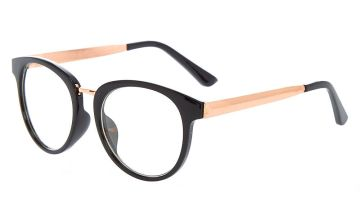 Go to Product: Rose Gold Round Clear Lens Frames - Black