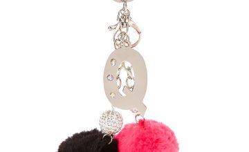 "Go to Product: Pink & Black Pom Pom Initial ""Q"" Keyring"