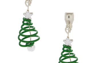 "Go to Product: 1"" Spiral Christmas Tree Clip On Drop Earrings - Green"