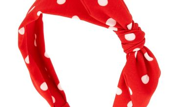 Go to Product: Polka Dot Knotted Bow Headband - Red