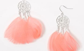 "Go to Product: Silver 3"" Feather Dreamcatcher Drop Earrings - Pink"