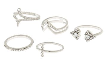 Go to Product: Silver Embellished Triangle Rings - 5 Pack