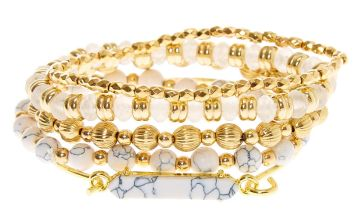 Go to Product: Gold Marble Beaded Stretch Bracelets - White, 5 Pack