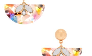 "Go to Product: 1.5"" Resin Painted Fan Drop Earrings"
