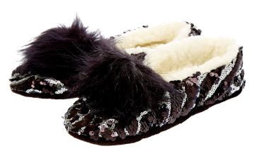 Go to Product: Reversible Sequin Snakeskin Slippers - Black
