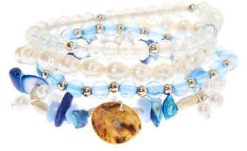 Go to Product: Silver Puka Stone Stretch Bracelets - Blue, 4 Pack