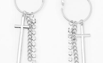 """Go to Product: Silver 3.5"""" Rhinestone Cross Triple Chain Hoop Drop Earrings"""