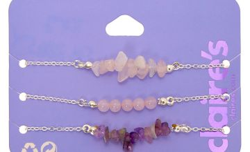 Go to Product: Silver Amethyst Chain Bracelets - Purple, 3 Pack