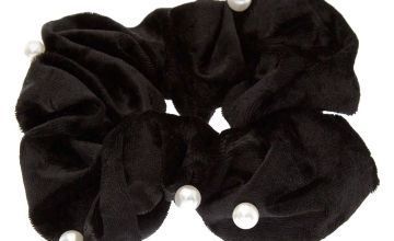 Go to Product: Medium Velvet Pearl Hair Scrunchie - Black