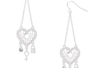 "Go to Product: Silver 2.5"" Heart Dreamcatcher Drop Earrings"
