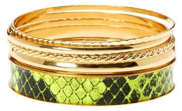 Go to Product: Gold & Neon Snakeskin Bangle Bracelets - 5 Pack