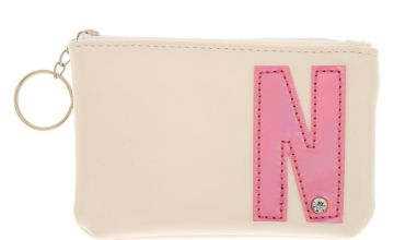Go to Product: White Faux Leather Pink Initial Coin Purse - N