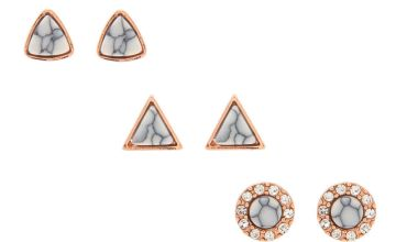 Go to Product: 18kt Rose Gold Plated Marble Stud Earrings - 3 Pack