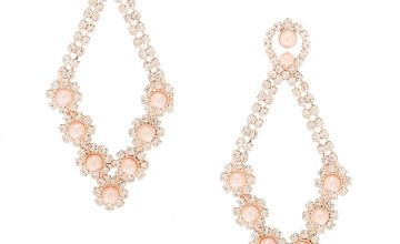 "Go to Product: Rose Gold Pearl 2.5"" Chandelier Drop Earrings"