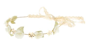 Go to Product: Gold Crochet Flower Crown Headwrap - Ivory