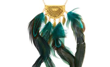 Go to Product: Gold Feather Long Pendant Necklace - Green