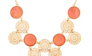 Go to Product: Gold Filigree Disk Statement Necklace - Coral