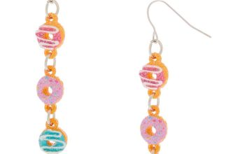 "Go to Product: Silver 2"" Glitter Donut Drop Earrings"