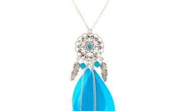 Go to Product: Silver Filigree Dreamcatcher Long Pendant Necklace - Teal