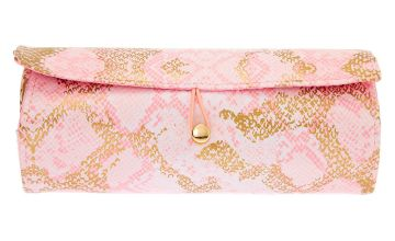 Go to Product: Snakeskin Roll Out Travel Makeup Bag - Pink
