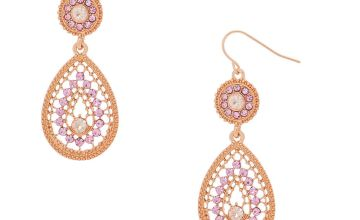 "Go to Product: Rose Gold 2"" Teardrop Drop Earrings"