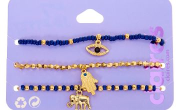 Go to Product: Gold Mystic Bead Stretch Bracelets - Navy, 3 Pack