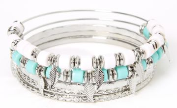 Go to Product: Silver Mint & White Beaded Feather Bangle Bracelets - 5 Pack